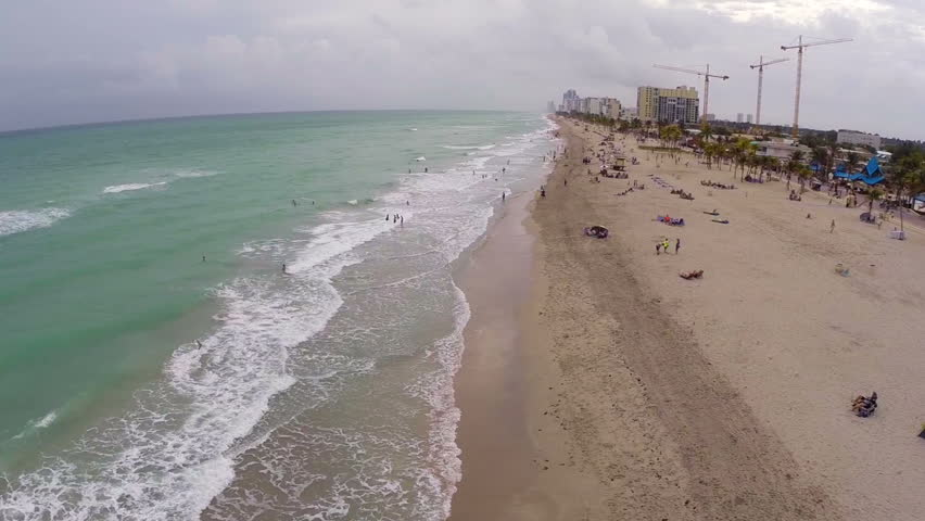 Aerial video of Hollywood Beach Florida