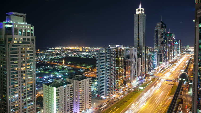 night city light street view from the roof in dubai