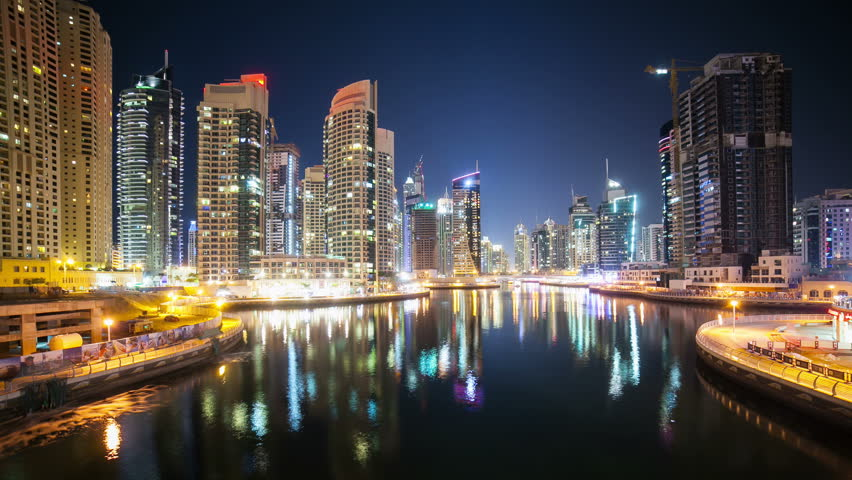 night light street view on boats in dubai marina