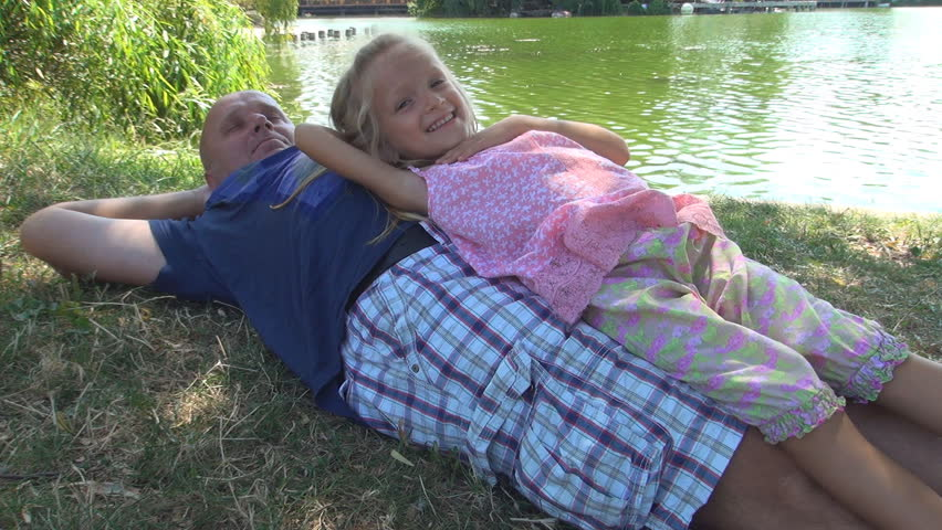 Happy Family Spending Time Together, Father and Child Playing on Meadow by Lake #5367734