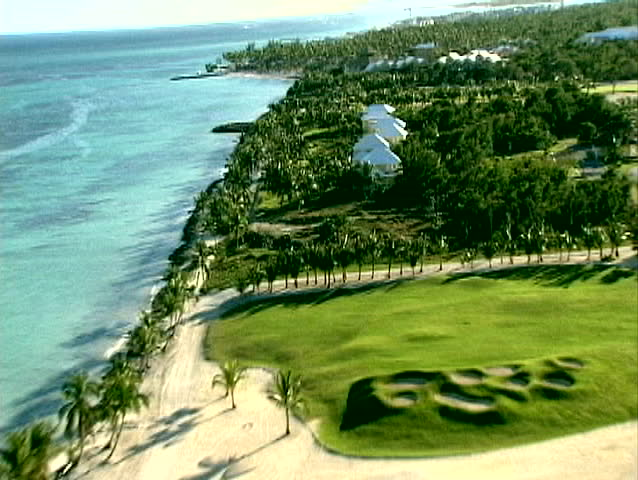 aerial video of island in the Caribbean beaches, coastlines and golf resorts
