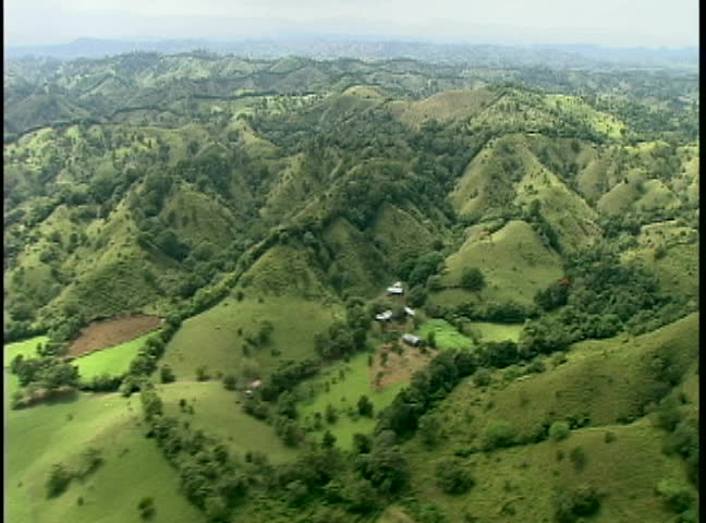 aerial video of lush green mountainous region in South America