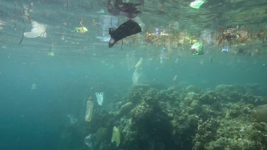 Plastic garbage and other debris floating underwater over coral reef in Bunaken Island, Sulawesi
