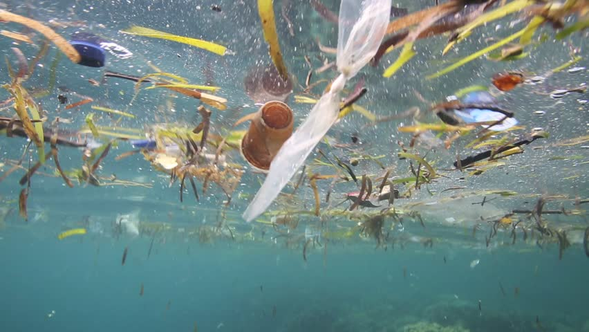 Plastic garbage and other debris floating underwater over fragile coral reef in Bunaken Island, Sulawesi