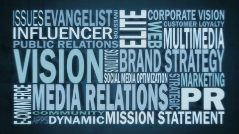 Marketing & PR / Media Relations Buzzwords Motion Graphics Animation