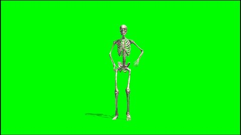 skeleton dancing rap - seperated on green screen