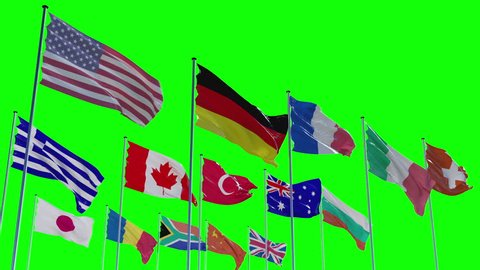 Flags of different nations with greenscreen, alpha and z-Matte