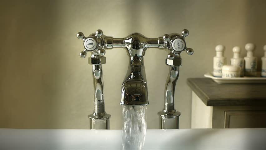 Bathtub tap with running water | Shutterstock HD Video #5441210