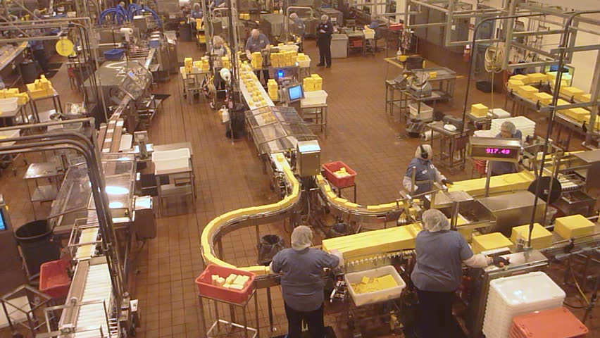 TILLAMOOK, OREGON - CIRCA 2014: Many people working in dairy factory environment, real time.