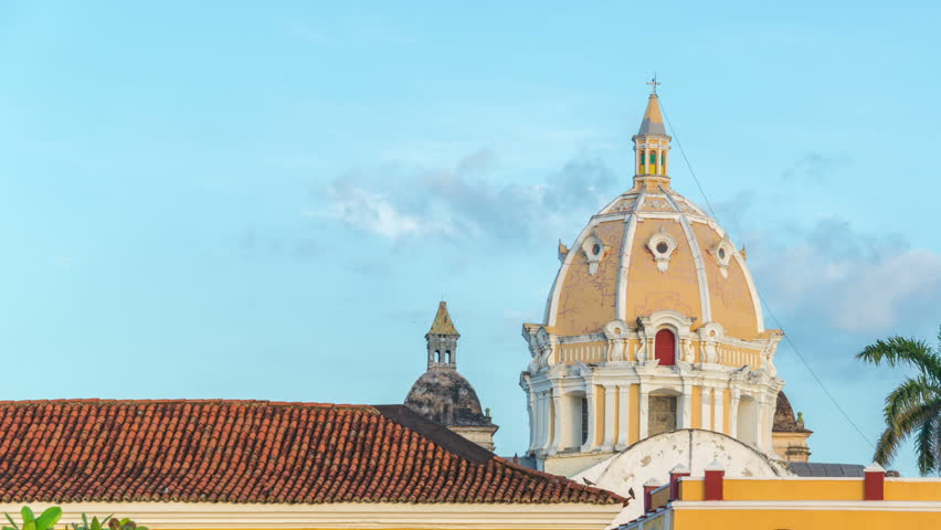 Time lapse of sunset on a church in Cartagena, Colombia