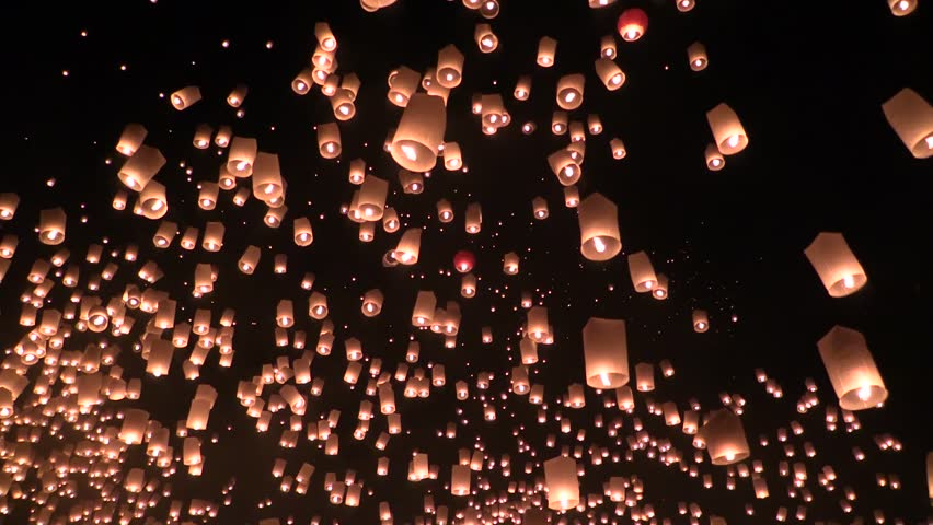CHIANG MAI, THAILAND - CIRCA 2013: Lanna Kathina Celebration, Yee Peng Lanterns Festival, Mae Jo, Chiang Mai, Thailand, 2013.  Mass start by signal occurs only once during celebration.