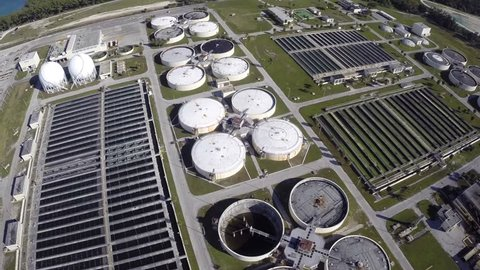 Stock aerial video of a water treatment plant