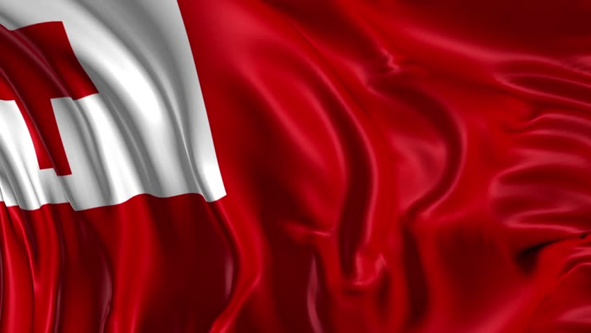 Flag Of Tonga Beautiful 3d Animation In Loop Mode