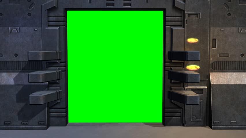 Spaceship Spacestation Door Open Close With Green Screen