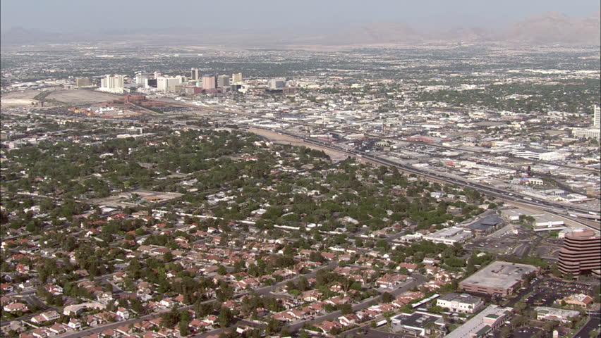 Las Vegas Hotels. Aerial footage of Las Vegas. Giant luxury hotels line along the strip in Las Vegas.   Shutterstock HD Video #5475494
