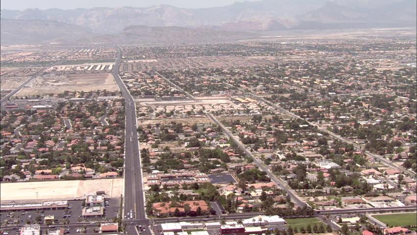 Las Vegas Houses Streets Cars. Pan over residential area in Las Vegas | Shutterstock HD Video #5475524