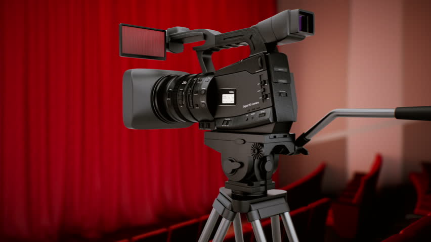 Camera in theater with red curtains. CG video.