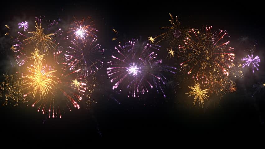 Animated Fireworks Display Loop Cycle Stock Footage Video