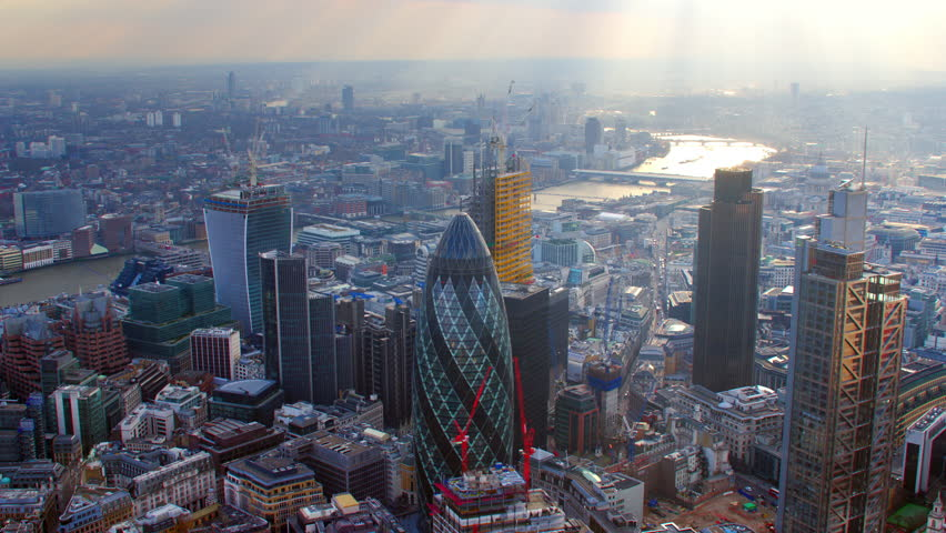 4K Aerial shot of Central London with view of the River Thames, The City Financial District, Liverpool Street, Gherkin, London Eye, Blackfriars, Tate Modern, St Paul's Cathedral | Shutterstock HD Video #5522564