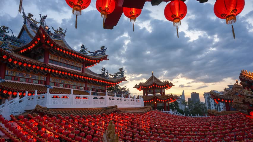 Timelapse day to night with lantern decorations for Chinese New Year