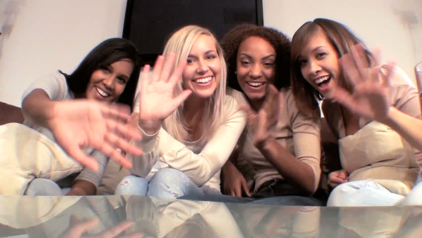 A group of beautiful multiethnic female friends having fun together