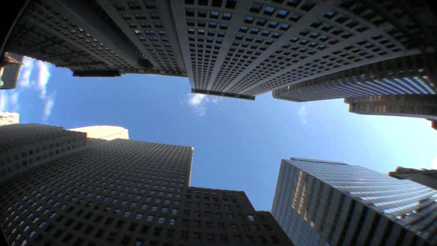 High-angle motion-jib view of skyscrapers in the financial district of New York City, USA | Shutterstock HD Video #555208