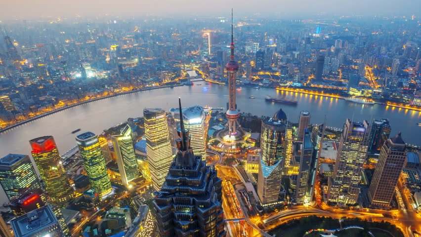 Shanghai from day to night (Panning Shot, 4k Time-Lapse).  Aerial view of high-rise buildings with Huangpu River in Shanghai, China. - >>> Please Search Newest Featured Clip: 29544151.