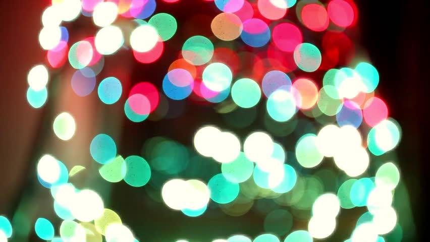 blurred blinking christmas lights, dolly shot