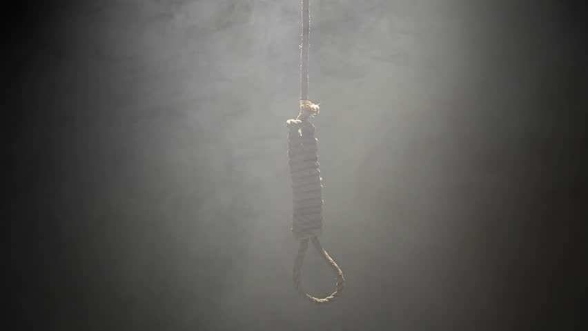 Falling Hangman Noose over black background and Heavy Smoke