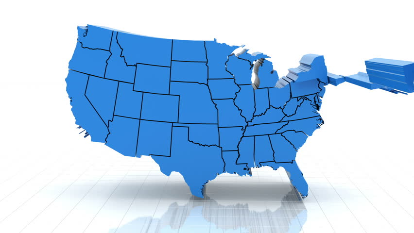 D Map Usa Stock Footage Video Shutterstock - Hd us map