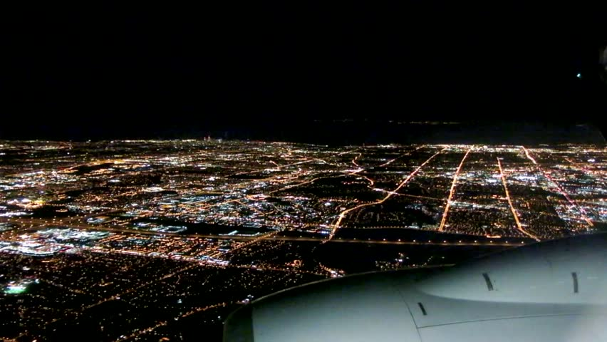 Airplane Approach City at Night, Window Seat View   Shutterstock HD Video #5629475