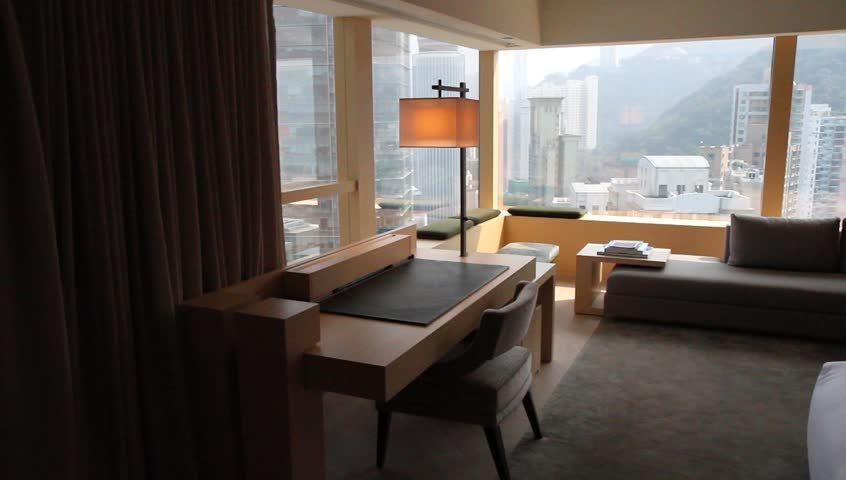 HONG KONG- CIRCA 2014:  Uber upscale hotel room in city. Hong Kong never sleeps, with busy streets, shopping everywhere, and a bustling population.