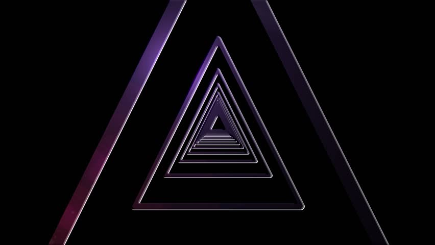 Purple Shaded Geometric Triangle Tunnel Abstract Motion Black Background