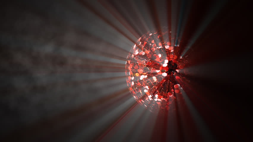 disco glitter ball rotate with volumetric light effects with alpha channel and smoke