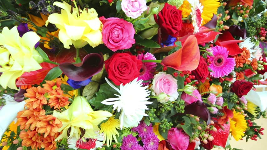 Stock video of beautiful bright large bouquet with different ...