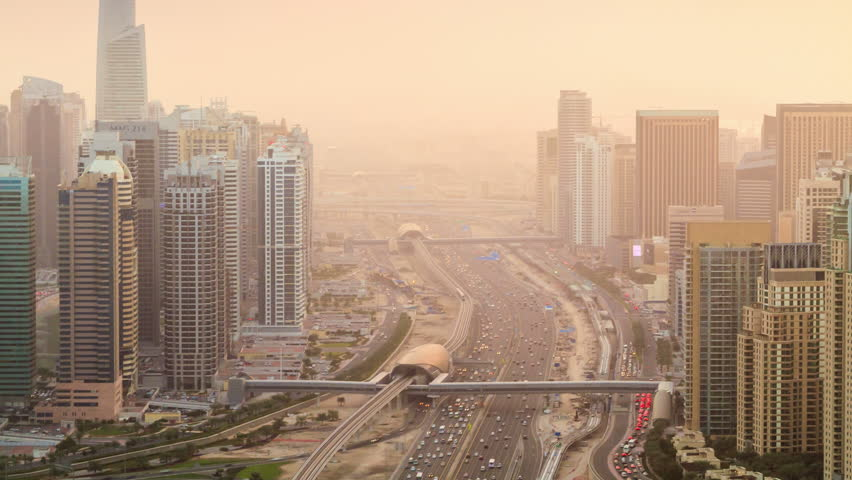 Dubai Sheikh Zhaed road  timelapse at sunset. The main highway in Dubai