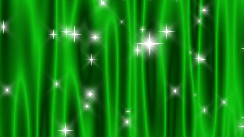 "HD 720p Loop, Green Starry Curtain-Flowing vivid green ""curtain"" with continuously falling and periodically shooting star sprites of light."