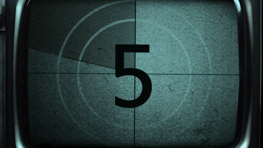 Vintage film countdown in TV. Animation of countdown in television set.