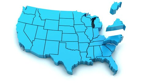 3d animation of US map formed by individual states