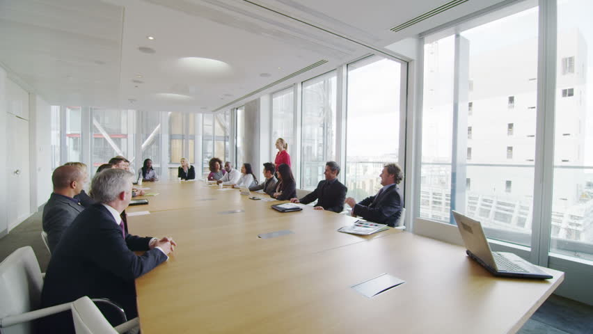 stock video of corporate business team in boardroom