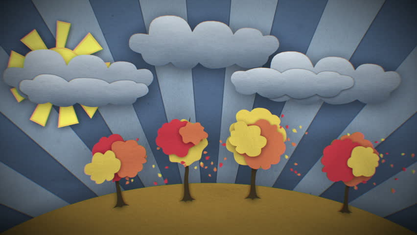 Change of Seasons Beautiful illustration. Concept Time-lapse. Cartoon style 3d animation. Looped video. HD 1080.