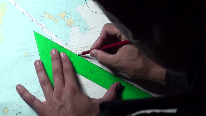 Marines tracing a route with charts in the Hesperides, A-33