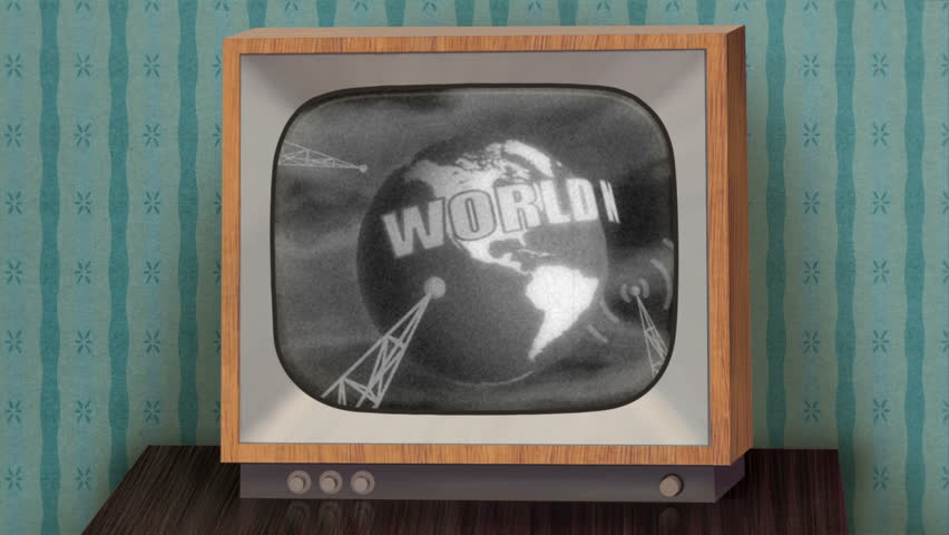 Retro b&w TV set showing news intro before switching to green (chroma key) background, then switching to TV test and finally switching off.