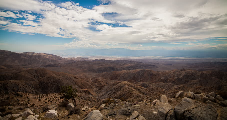 USA 2013 - 4K Time Lapse Of Clouds Over The Joshua Tree National Park Near Palm Springs