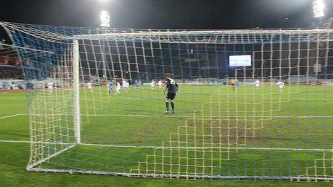 RIJEKA, CROATIA - FEBRUARY 26: soccer match between HNK Rijeka and GNK Dinamo (1. Croatian Football league) 2014 in Rijeka, Croatia. Alen Halilovic scores a goal.