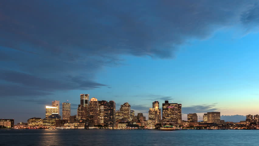 Time lapse Boston Skyline from Twilight to Night -tilt shot down