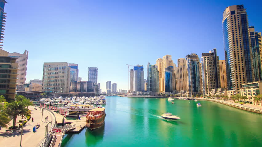 Motion timelapse from the bridge in Dubai marina district. #5747120