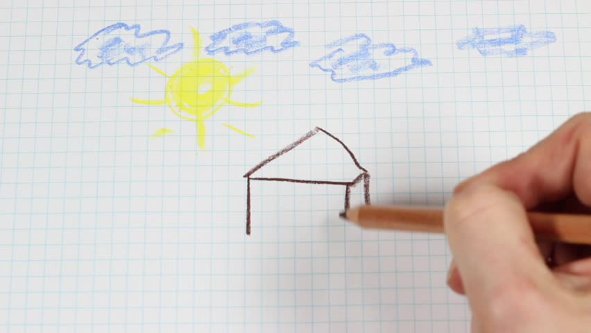 Child's drawing - time lapse. Clouds, sun, home.