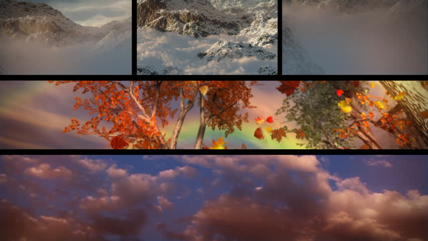 (1129) Sky Clouds Mountains Sunsets and Seasons Composition Loop.