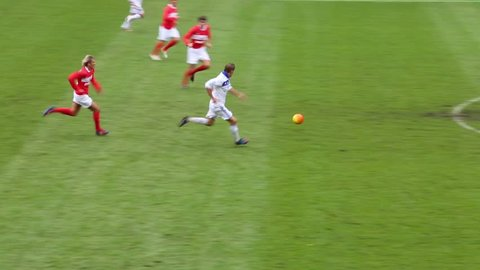 MOSCOW, RUSSIA - SEP 9, 2012: Player scores goal at football match Spartak Moscow - Dynamo Kiev at Lokomotiv stadium.